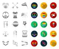 Vrolijke en lesbische mono, vlakke pictogrammen in vastgestelde inzameling voor ontwerp Seksueel minderheid en van het attributen vector illustratie
