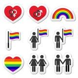 Vrolijke en lesbische paren, geplaatste regenboogpictogrammen Stock Afbeelding