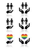 Vrolijke en lesbische paren, regenboogvlag met geplaatste handenpictogrammen Stock Afbeeldingen