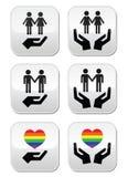 Vrolijke en lesbische paren, regenboogvlag met geplaatste handenpictogrammen Royalty-vrije Stock Afbeeldingen