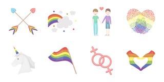 Vrolijke en lesbische pictogrammen in vastgestelde inzameling voor ontwerp De seksuele minderheid en van het attributen vectorsym vector illustratie