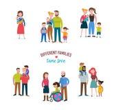 vrolijke familie, verschillend soort families, speciale behoeftenkinderen Royalty-vrije Stock Afbeeldingen