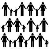 Vrolijke familiepictogrammen Stock Fotografie