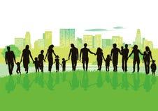 Vrolijke families in stadspark vector illustratie