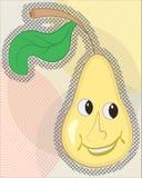 Vrolijke gele peer op een abstracte achtergrond Stock Fotografie