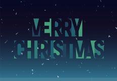 Vrolijke geometrische het knipselbrieven van Christmass, bannermalplaatje Vector Latijnse promotekst Sneeuwvlokken blauwe affiche vector illustratie