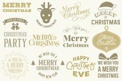 Vrolijke geplaatste Kerstmiselementen Royalty-vrije Stock Fotografie