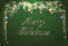 Vrolijke Groene Kerstmis schittert Groetkaart Royalty-vrije Stock Foto's