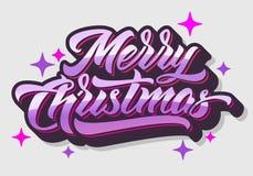 Vrolijke hand-Van letters voorziet Kerstmis 2019 vector illustratie