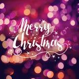 Vrolijke handdrawn de kaart bokeh ster van de Kerstmisgroet Stock Foto's