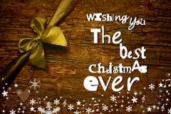 Vrolijke het berichtprentbriefkaar van de Kerstmiswens Royalty-vrije Stock Afbeelding