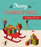 Vrolijke het conceptenillustratie van het Kerstmis creatieve groepswerk Stock Afbeeldingen