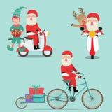 Vrolijke het elf en het rendier berijdende fiets van de Kerstmiskerstman en royalty-vrije illustratie