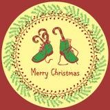 Vrolijke het ontwerpreeks van de Kerstmisgroet Royalty-vrije Stock Foto