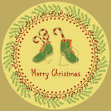 Vrolijke het ontwerpreeks van de Kerstmisgroet Stock Afbeeldingen