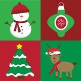 Vrolijke het Ornamentboom van de Kerstmissneeuwman Stock Afbeelding