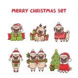 Vrolijke het rassenpug van Kerstmis vastgestelde honden stock illustratie