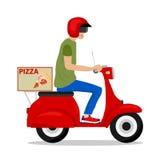 Vrolijke jonge bezorger die een pizzadoos houden terwijl geïsoleerd op wit Stock Fotografie