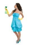 Vrolijke jonge dame bespuitende schonere vloeistof Stock Foto