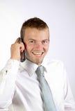 Vrolijke Jonge Mens op de Telefoon Royalty-vrije Stock Fotografie