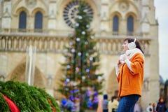 Vrolijke jonge vrouw die Kerstmis van seizoen in Parijs genieten Stock Afbeeldingen