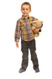 Vrolijke jongen met teddybeer stock fotografie