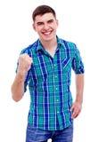 Vrolijke kerel met opgeheven vuist Royalty-vrije Stock Foto