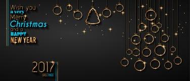 Vrolijke Kerstboomvlieger met Gouden elegante snuisterijen en gloeiende lichte sterren stock illustratie