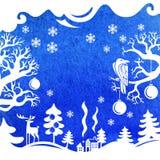 Vrolijke Kerstkaart, de Winterlandschap Stock Fotografie