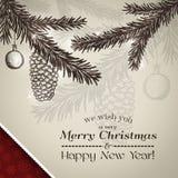Vrolijke Kerstkaart en Gelukkige Nieuwjaarskaart Royalty-vrije Stock Afbeeldingen