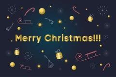 Vrolijke Kerstkaart Gouden tekst over achtergrond met sneeuwvlokken, giften, suikergoedriet, klokken, sterren, ar Stock Fotografie