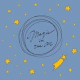 Vrolijke Kerstkaart Magisch in de lucht Vector illustratie Royalty-vrije Stock Afbeelding
