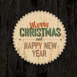 Vrolijke Kerstkaart met Donkere Houten Achtergrond Royalty-vrije Stock Foto's