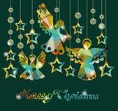 Vrolijke Kerstkaart met Engelen Stock Foto's