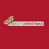 Vrolijke Kerstkaart met gestileerde sticker Stock Afbeelding