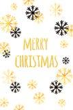 Vrolijke Kerstkaart met gouden sneeuwvlokken Abstracte de winterachtergrond Gemakkelijk modern malplaatje Royalty-vrije Stock Afbeeldingen