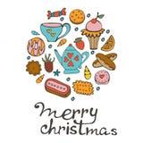 Vrolijke Kerstkaart met hand getrokken snoepjes en desserts Stock Afbeeldingen