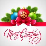 Vrolijke Kerstkaart met het Vector Van letters voorzien Royalty-vrije Stock Fotografie