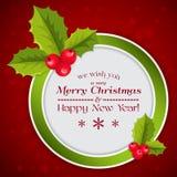 Vrolijke Kerstkaart met hulstbessen Royalty-vrije Stock Afbeeldingen