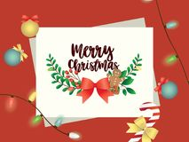 Vrolijke Kerstkaart met Kerstmiselementen royalty-vrije stock foto