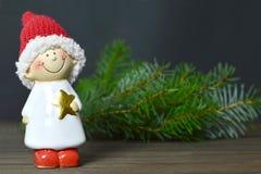 Vrolijke Kerstkaart met Kerstmiself Royalty-vrije Stock Foto's