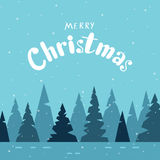 Vrolijke Kerstkaart met moderne kalligrafie en de winter boso vector illustratie