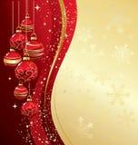 Vrolijke Kerstkaart met rode snuisterij Royalty-vrije Stock Foto's