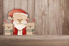 Vrolijke Kerstkaart met SANTA CLAUS en decoratie Stock Afbeelding