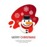 Vrolijke Kerstkaart met sneeuwman royalty-vrije stock afbeelding