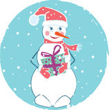 Vrolijke Kerstkaart met sneeuwman Stock Foto