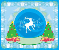 Vrolijke Kerstkaart met sneeuwvlokken en rendier Stock Afbeeldingen