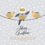 Vrolijke Kerstkaart met Vogels op Zwarte Kabel vector illustratie