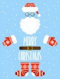 Vrolijke Kerstkaart Santa Claus-elementen met etnisch patroon Stock Foto