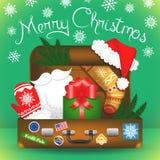 Vrolijke Kerstkaart Santa Claus-reiskoffer Stock Fotografie